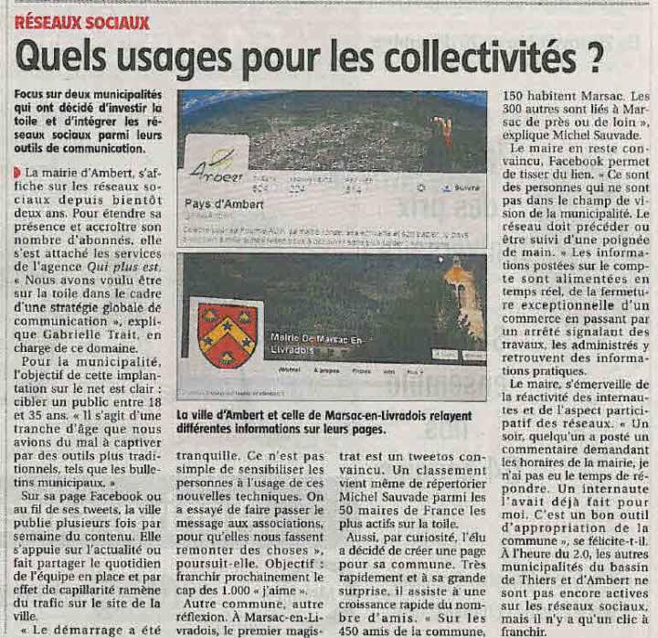 La Gazette de Thiers-Ambert, 20 novembre 2014